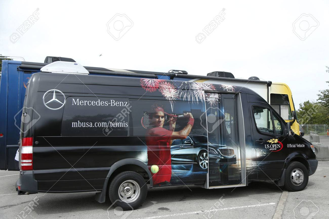 hight resolution of flushing ny september 9 mercedes benz bus at national tennis center during us