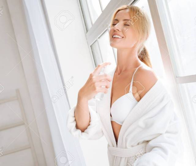 Relaxed Blonde Feeling Happiness After Shower Stock Photo