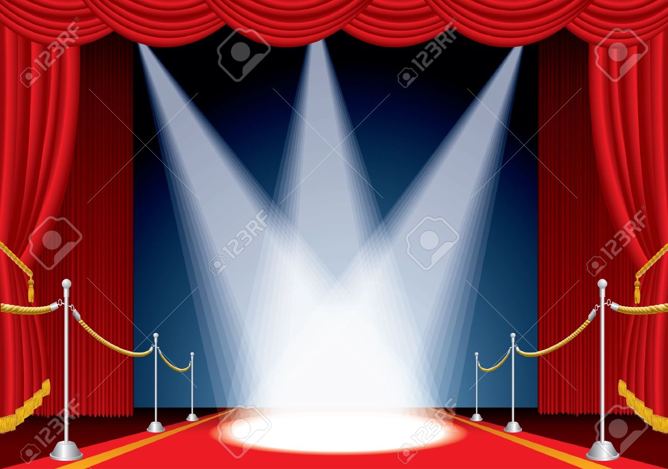 hight resolution of vector vector opened stage with red curtain and three spotlights
