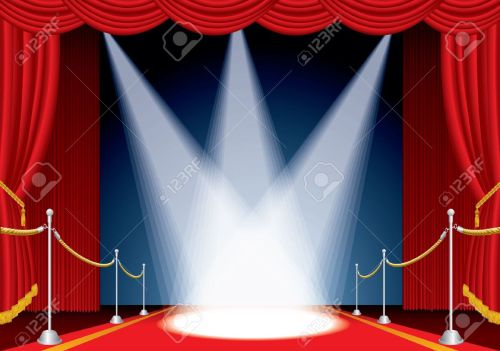 small resolution of vector vector opened stage with red curtain and three spotlights