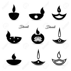Collection Of Black Icons Islamic Oil Lamp Symbol Decorations Royalty Free Cliparts Vectors And Stock Illustration Image 130795155
