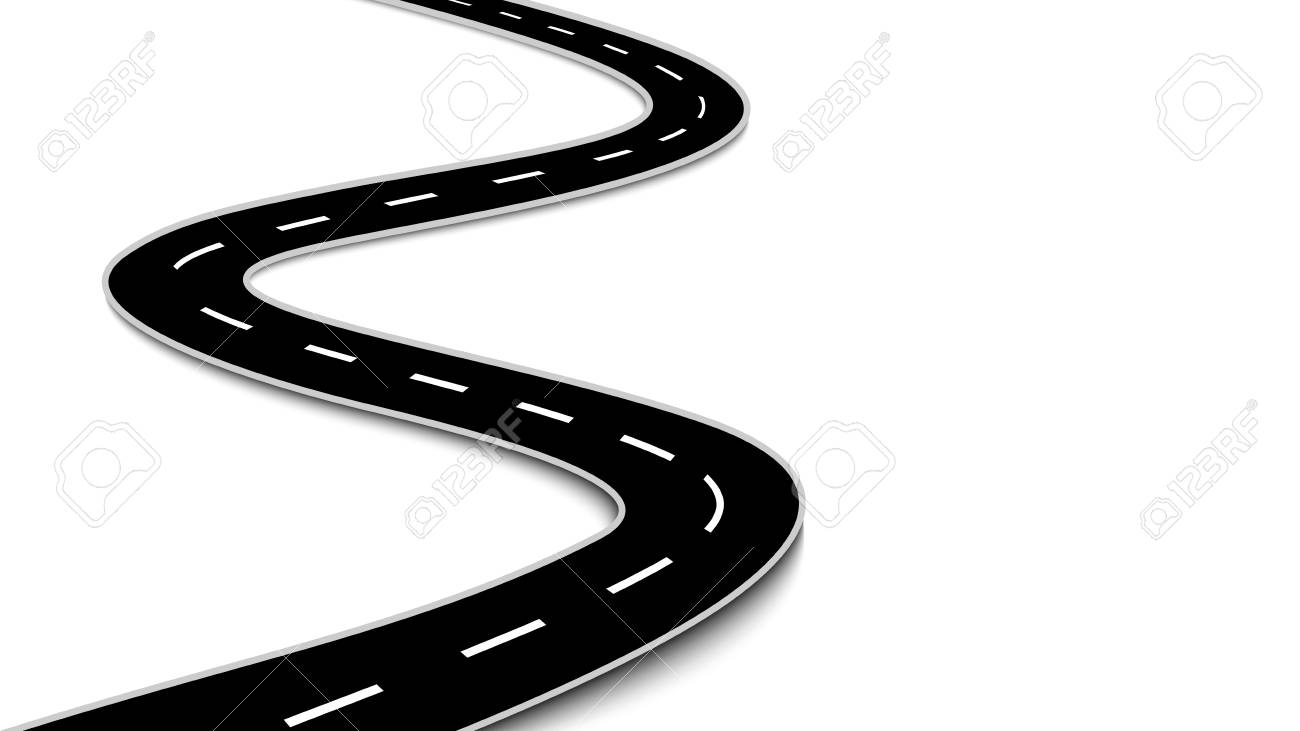 hight resolution of vector winding road isolated on white background
