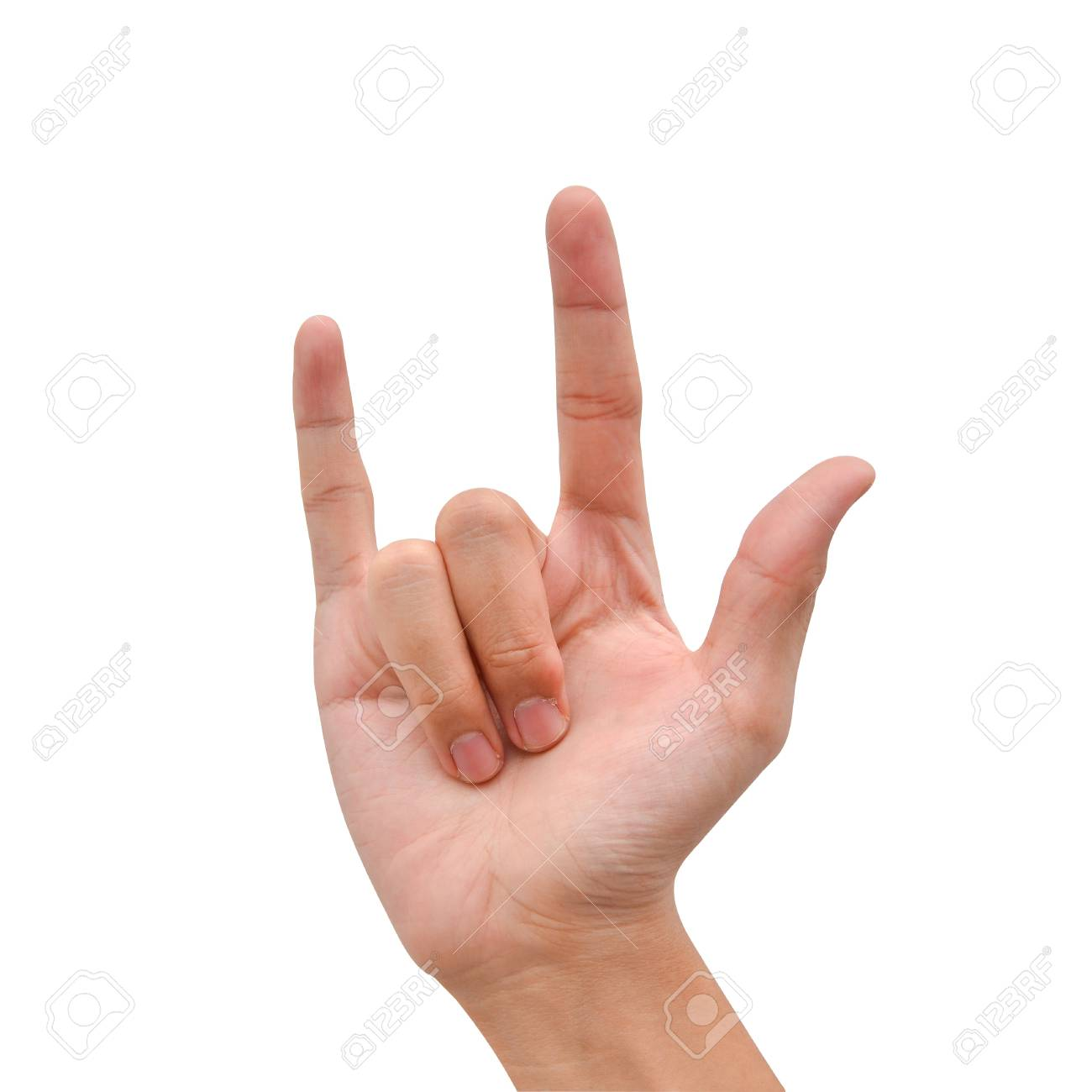 hand posing love sign