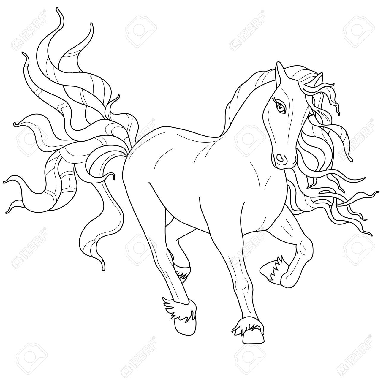 Horses Coloring Pages Image Of A Horse In Line Art Style Royalty Free Cliparts Vectors And Stock Illustration Image 137523092