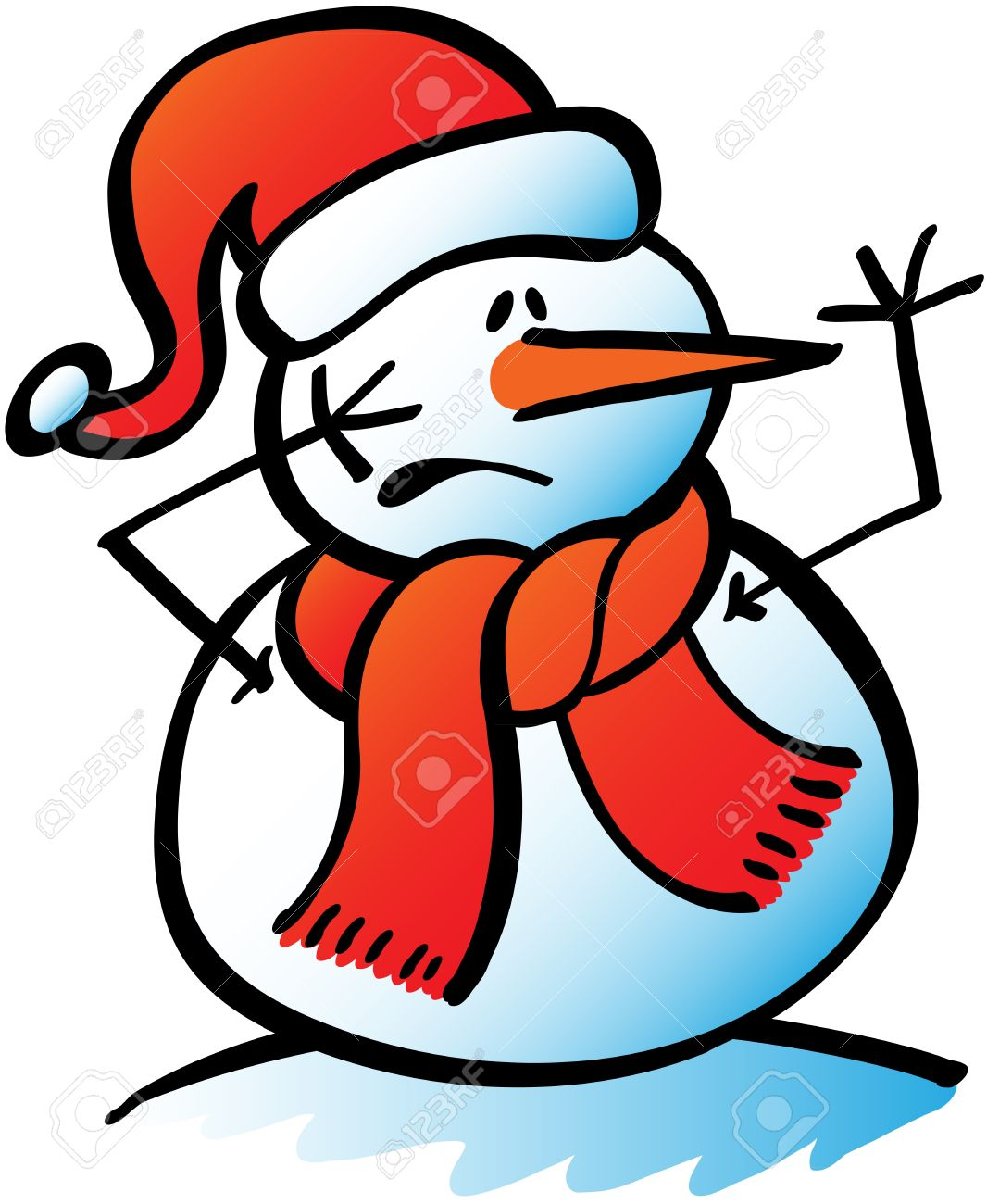 hight resolution of funny christmas snowman wearing santa hat and red scarf while trying to get attention by rising