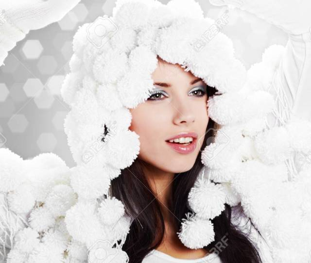 Portrait Of A Winter Woman Pom Pon Hat Stock Photo 7762571