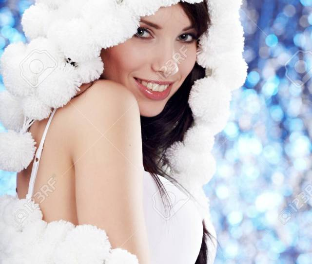 Portrait Of A Winter Woman Pom Pon Hat Stock Photo 10445709