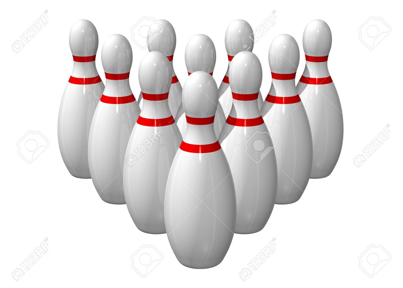 ten bowling pins lined