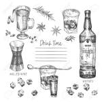 Vintage Hand Drawn Sketch Design Bar Restaurant Cafe Menu On White Background Graphic Vector Art Iwhiskey With Ice And Mulled Wine Creative Template For Flyer Banner Poster Engraving Retro Style Ilustraciones Vectoriales