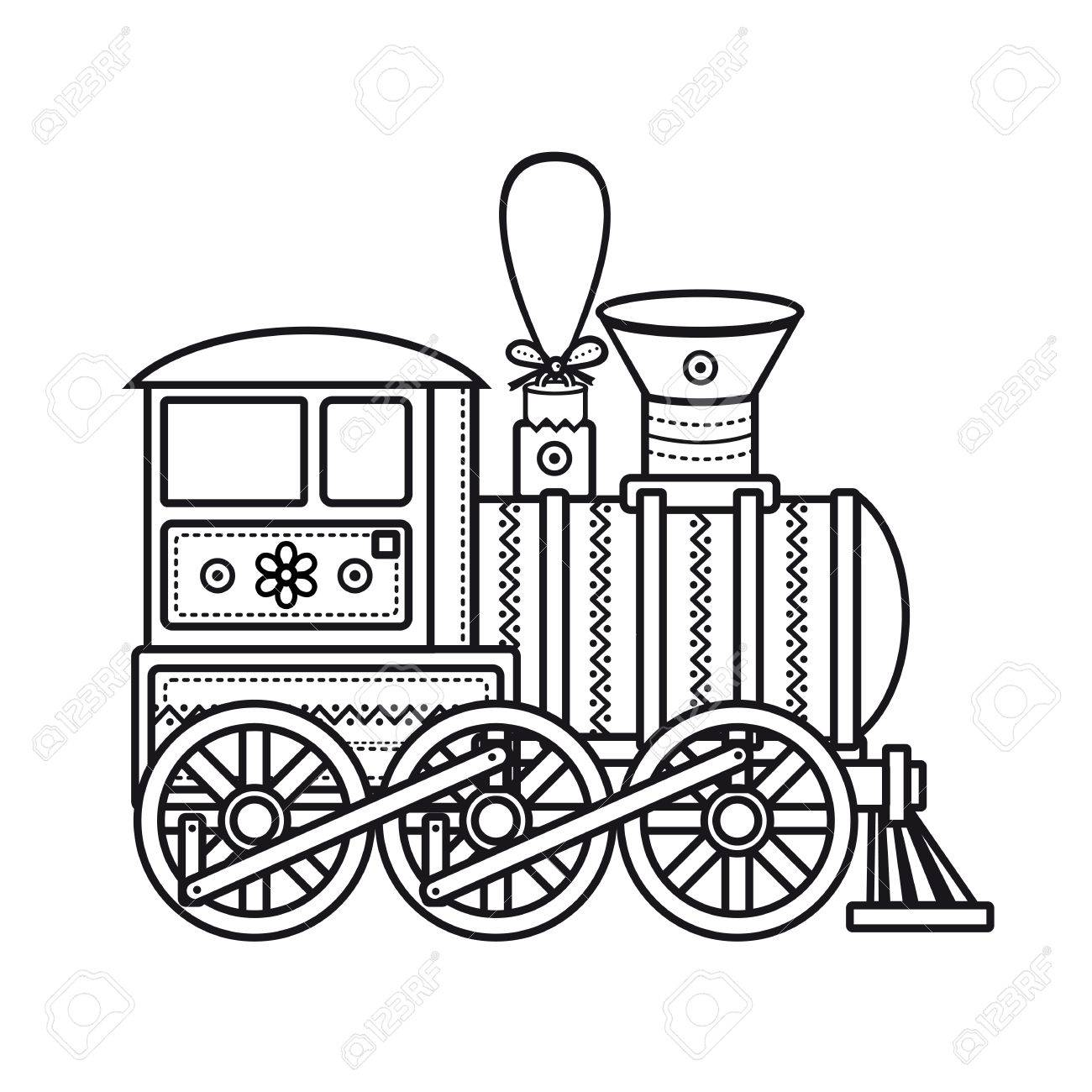 hight resolution of vintage train children s toy christmas decorations vintage train vector icon stock vector