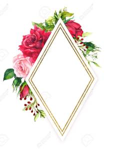 also red and pink roses with spring green grass golden border watercolor rh rf