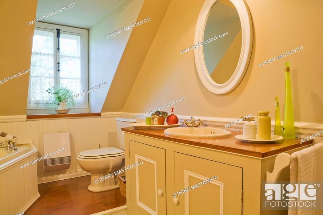 Vanity In Main Bathroom On The Upstairs Floor Inside An Old Reconstructed 1850s Cottage Style Log Stock Photo Picture And Rights Managed Image Pic Acx Acp97590 Agefotostock