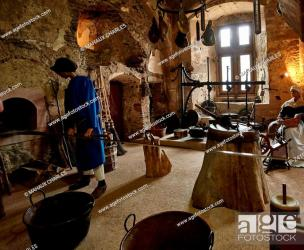 The old kitchen inside the medieval castle of Vianden in Vianden village in Luxembourg country Stock Photo Picture And Rights Managed Image Pic TIP 241CMH03887 agefotostock