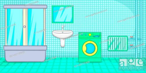 Plumber horizontal banner concept bathroom Cartoon illustration of plumber horizontal banner Stock Photo Picture And Low Budget Royalty Free Image Pic ESY 051177429 agefotostock