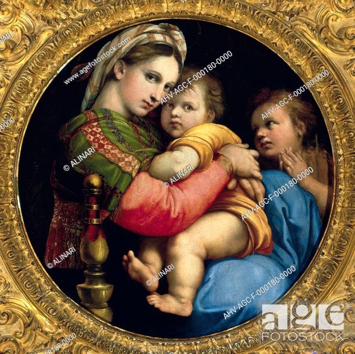 madonna of the chair hag capisco puls review painting by raphael in palatine gallery stock photo