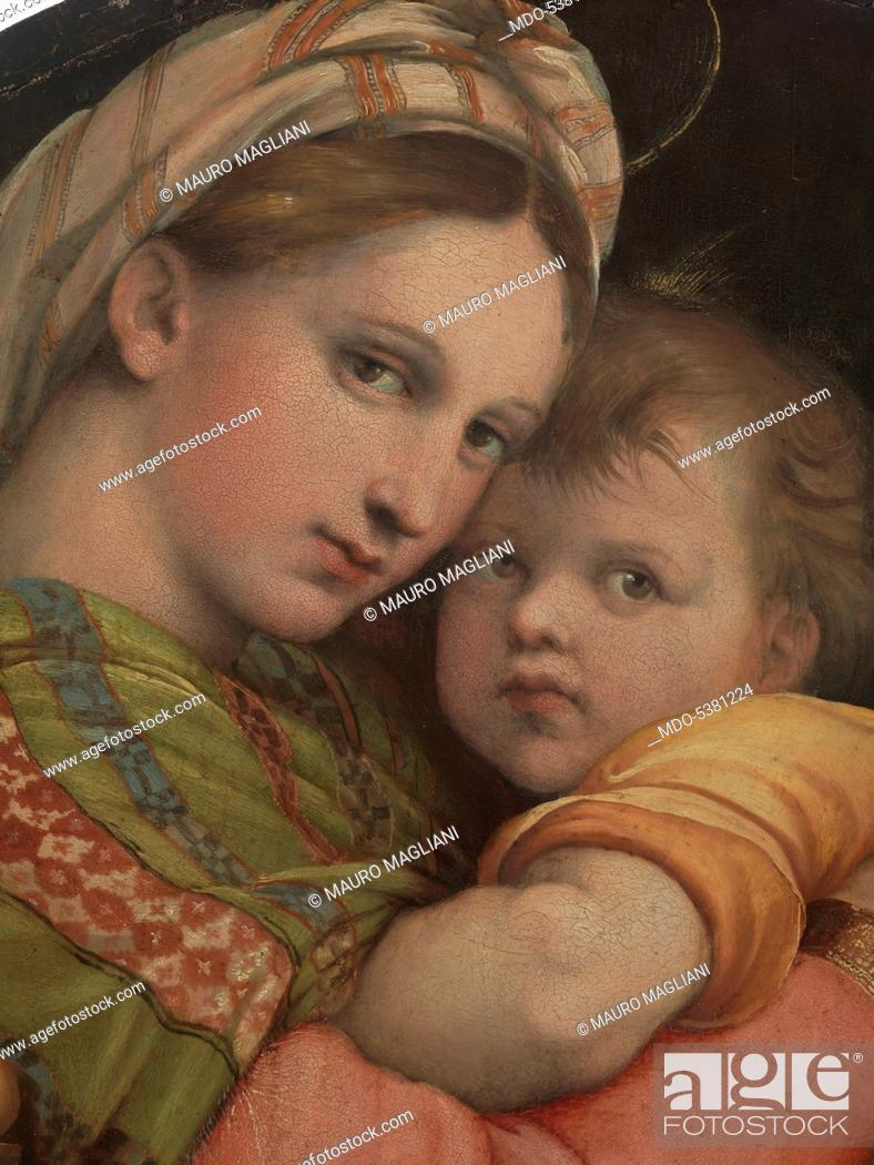 madonna of the chair table chairs rental by raffaello sanzio 1513 1514 16th century stock photo oil on panel cm 71 x