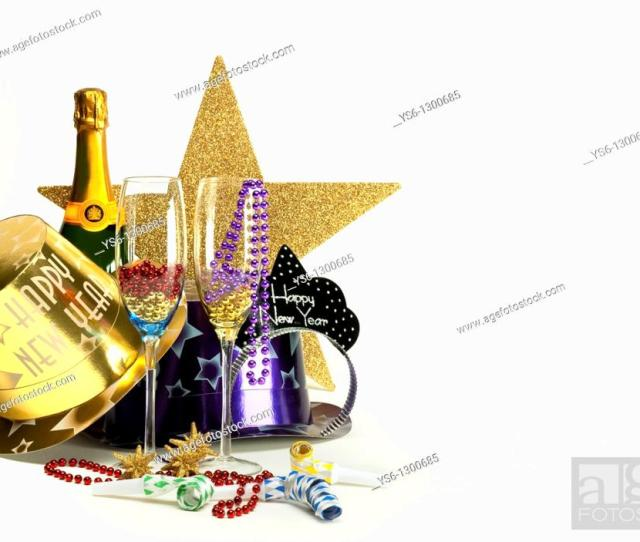 Stock Photo Still Life Composition Of New Years Party Hats Necklaces Noise Makers