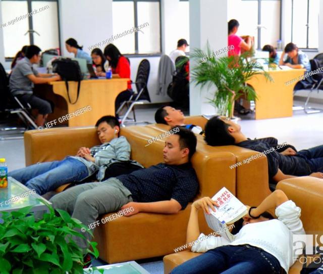Stock Photo China Shanghai Yangpu District Tongji University Siping Campus Student Library Asian Man Woman Teen Boy Girl Studying Sleeping