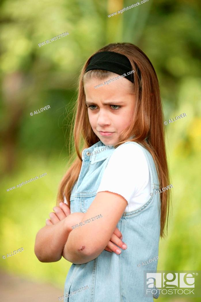 child girl pouting stock