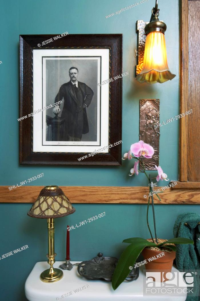 oak chair rail rattan hanging egg bathroom detail blue green walls with orchid plant stock photo