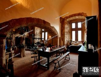 The old kitchen inside the medieval castle of Vianden in Vianden village in Luxembourg country Stock Photo Picture And Rights Managed Image Pic TIP 241CMH03886 agefotostock