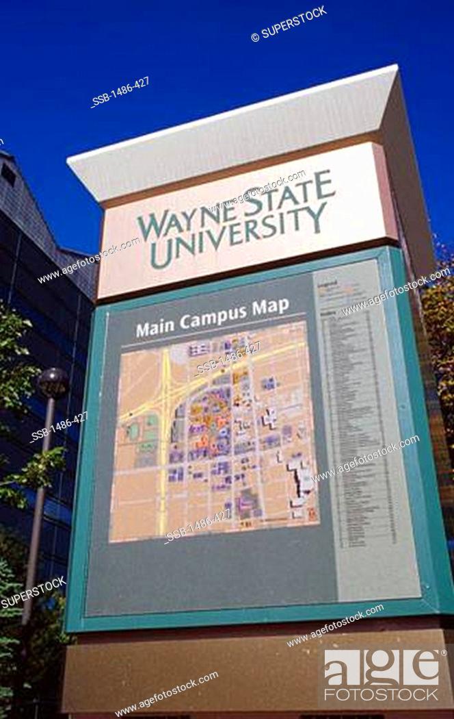 Wayne State University Campus Map : wayne, state, university, campus, Column, University, Campus,, Wayne, State, University,, Detroit,, Michigan,, Stock, Photo,, Picture, Rights, Managed, Image., SSB-1486-427, Agefotostock