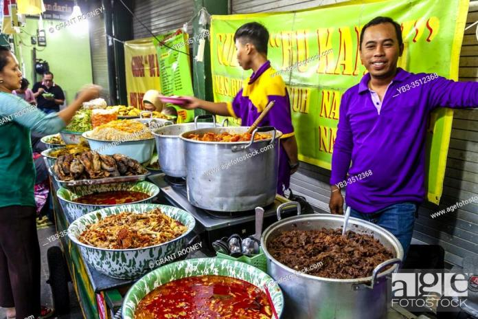 A Colourful Street Food Stall In The Night Market Yogyakarta Indonesia Stock Photo Picture And Rights Managed Image Pic Yb3 3512368 Agefotostock