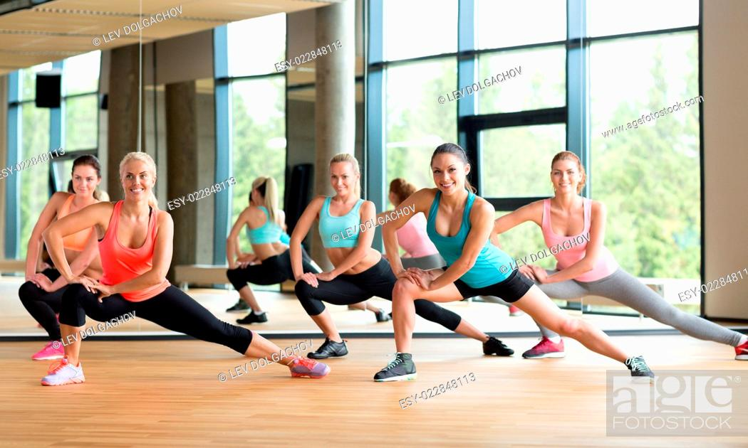 Fitness Sport Training Gym And Lifestyle Concept Group Of Women Working Out In Gym Stock Photo Picture And Low Budget Royalty Free Image Pic Esy 022848113 Agefotostock
