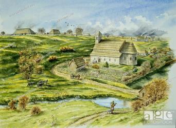 Wharram Percy Medieval Village North Yorkshire Reconstruction drawing by Peter Dunn English Stock Photo Picture And Rights Managed Image Pic MEV 10691714 agefotostock