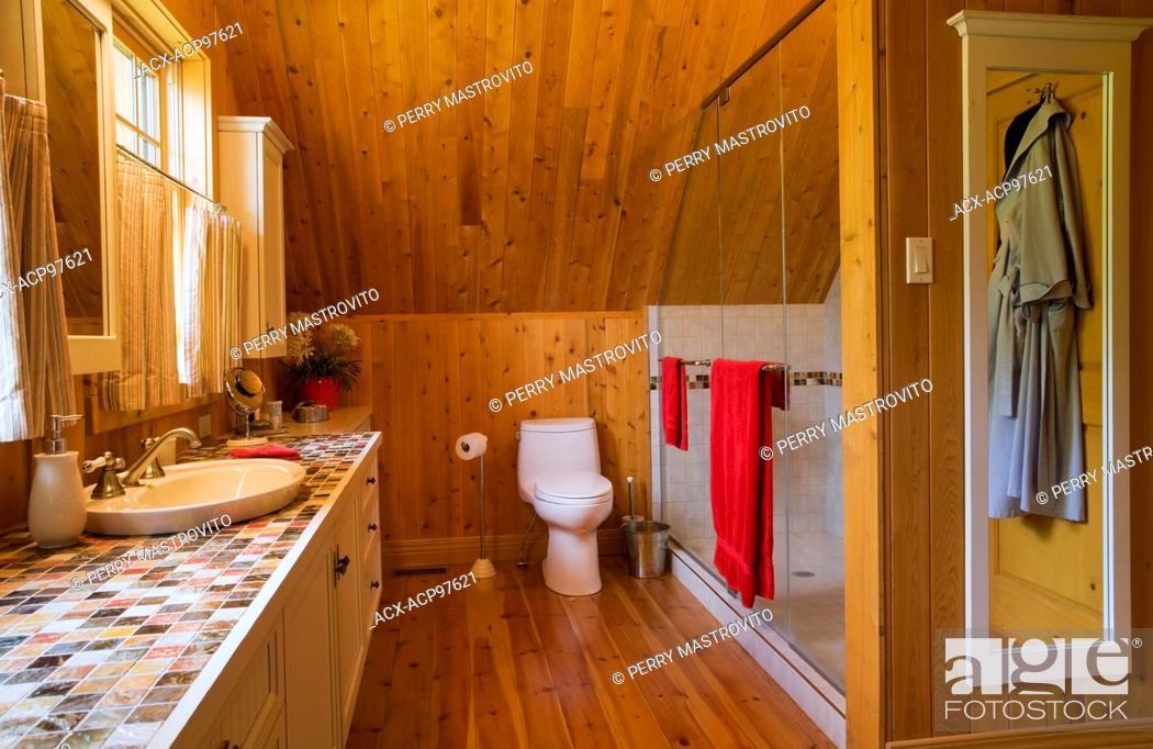 Master Bedroom Ensuite With Glass Shower Stall Toilet And Vanity On The Upstairs Floor Inside A Stock Photo Picture And Rights Managed Image Pic Acx Acp97621 Agefotostock