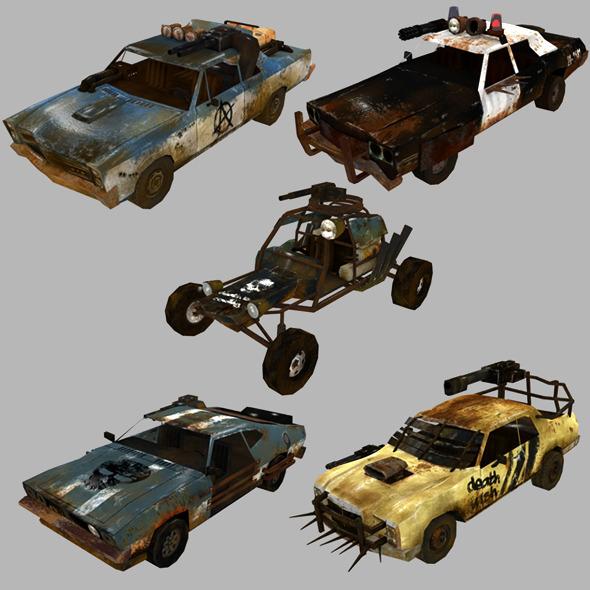 low poly postapo car set 01
