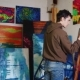 Working In The Creative Studio Of The Painter