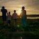 Family Walking Beach Sunset Travel Holiday