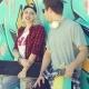 Trendy Modern Urban Couple Chatting At Skate Park
