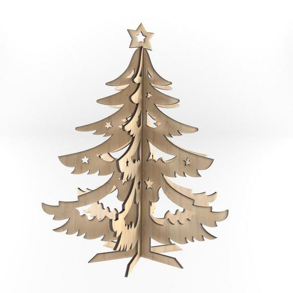 Decorative wooden New Year tree