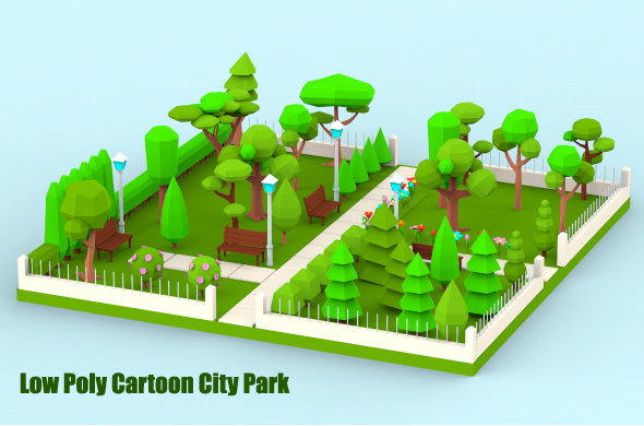 Low Poly Cartoon City Park