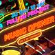 Music Opener Neon Style/ Music Award/ Old Music Boombox/ Radio Show/ Speakers and Bass
