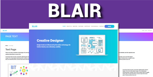 , Blair – One Page Bootstrap 4 VueJS, Laravel & VueJs