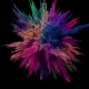 Colored Explosion of Powder