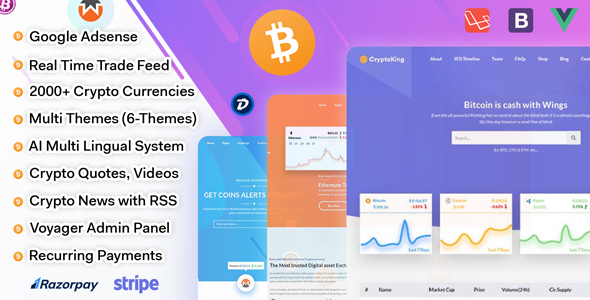 , CryptoKing – Live Feed Crypto Currency Script with Subscriptions, Laravel & VueJs, Laravel & VueJs
