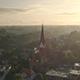 Drone footage  city  morning sunshin
