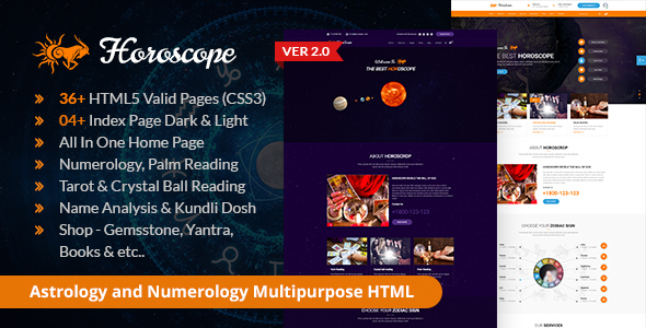 Horoscope – All in one Astrology and Numerology HTML