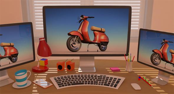 Office Stylized Scene Low-Poly