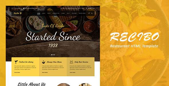 , Recibo – Restaurant / Food HTML Template, Laravel & VueJs