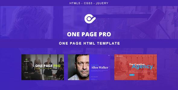 , One Page Pro – Multi Purpose HTML Template, Laravel & VueJs