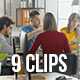 Collection of Happy People Working in Modern Creative Office - Pack of 9 Clips