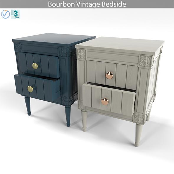 Bourbon Vintage Bedside, Grey and Dark Blue