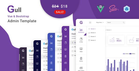 , Gull – Vuejs Admin Dashboard Template, Laravel & VueJs