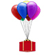 Gift Box Floating With Colorful Balloons