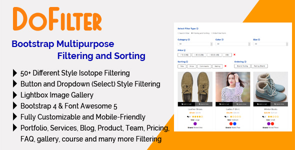 DoFilter - Bootstrap Multipurpose Filtering and Sorting - PHP Script Download 1